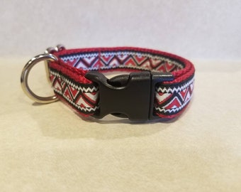 "3/4"" Red Jacquard Dog Collar"