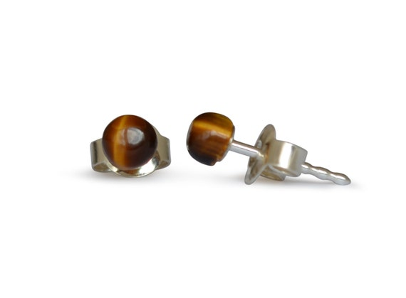 Tiger eye stud earrings, natural, flat round, 6mm, 925 silver