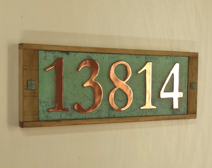 "Large copper and wooden plaque, 150mm/6"" high numbers ,  polished and patinated,  5 x numbers g"