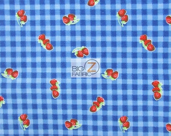 """Poly Cotton Printed Fabric Fruit Strawberry Plaid - NAVY BLUE - 58""""/59"""" Width Sold By The Yard (P5)"""