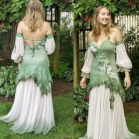 Woodland Fairy Dress in Sage Green and Blush Silk. MADE TO