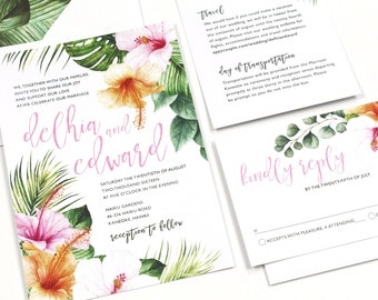 Hibiscus Wedding Invitation, Tropical Invitation, Destination Wedding Invitation, Palm leaves, watercolor, Hawaii Wedding -SAMPLE