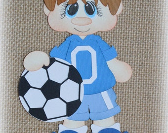 Soccer Boy Premade Scrapbooking Embellishment Paper Piecing