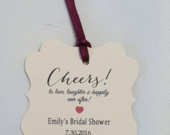 "Personalized Favor Tags 2""x2'', Wedding tags, Thank You tags, Favor tags, Gift tags, Bridal Shower Favor Tags, cheers tag, wine favor tag"