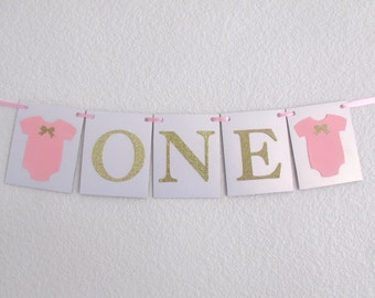 Pink Gold High Chair Decorations Pink Gold Birthday Party Decorations One Banner Pink Gold Bow Birthday Bow First Birthday Age Banner