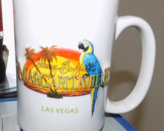 Vintage Jimmy Buffett Margaitaville Las Vegas 3d Coffee Mug in White Nice Lot See Pics Perfect