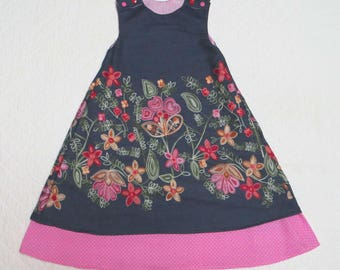 Denim embroidered 6/7 years old girl's dress