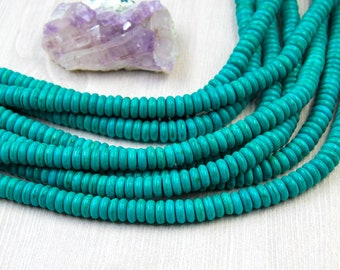 Howlite  Beads, 8mm, 130pc Strand, Abacus, Turquoise Color,  Howlite   Stone Beads -B867
