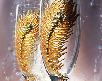 Gold Feather Wedding Glasses, Wedding Champagne Flutes, Bride And Groom, Personalized Toasting Flutes, Classic Wedding, Wedding gift