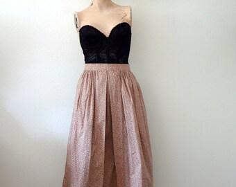 1960s Full A-line Skirt / vintage floral print cotton skirt