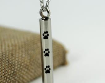 Necklace Urn for Pet Ashes and Rainbow Bridge Print  #614-AW