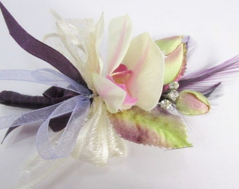 Ivory Orchid Boutonnierre or Wrist Corsage in Radiant Orchid Purple, Lavender, Violet and Green