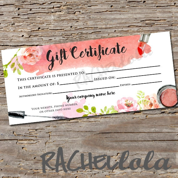 Custom Watercolor Makeup Printable Gift Certificate