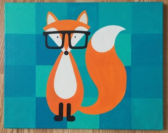 Fox painting for nursery or kid's room.