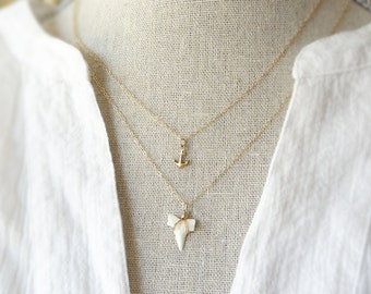 Shark Tooth Necklace - Layering Necklace - Shark Tooth Pendant - Beach Jewelry - Little Shark Tooth - Tiny Shark Tooth Necklace