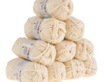 10 x 50g wool CHIMERA #442 ivory, wool for knitted felt