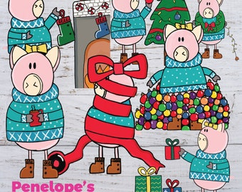 Pig Clipart - Pig Christmas Clipart - Christmas Digital Clipart - Christmas Printables - Pig Lovers - Holiday Clipart - Instant Download
