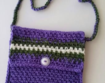 Crochet Cross-body Messenger Bag, Hip Bag, Over the Shoulder Purse, Purple, White, Green, FREE US SHIPPING!