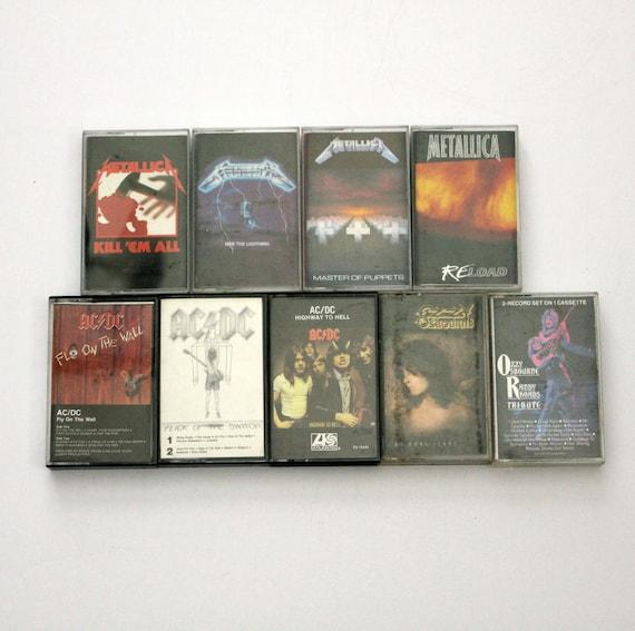 Lot of 9 Vintage Heavy Metal Rock Cassette Tapes | AC/DC, Metallica, Ozzy Osbourne