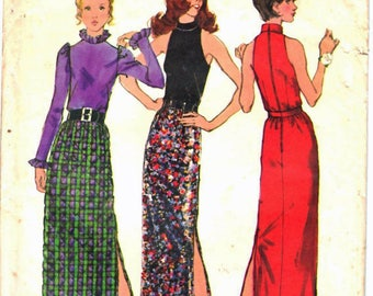 Simplicity 5240 Retro Woman's Maxi Skirt with Side Slit, Back Zipper High Neck Blouses, Sewing Pattern Size 10 Vintage 1970's