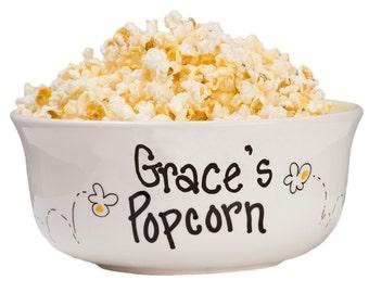 Hand Painted Personalized Popcorn Bowl Large Ceramic Pop Corn Bowls w Name Movie Night Hand Paint Popcorn Bowl Tub Bucket Sleepover POPOCER