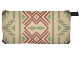 SouthWest Pattern 1 Boho Chic Makeup Printed Zip Clutch