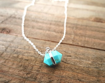 Turquoise Silver Necklace, Modern Minimalist Jewelry, Turquoise Geometric Necklace, Turquoise Necklace