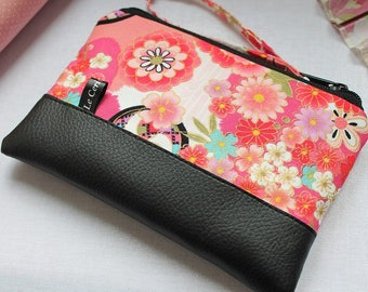 Zippered coin purse / wrislet pouch card / case - Umika pink red