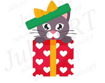 cartoon lovely cat gift vector image