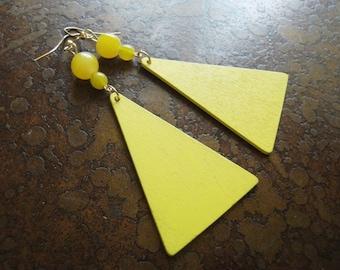 Morning Glow Wood and Glass Beaded Dangle earrings