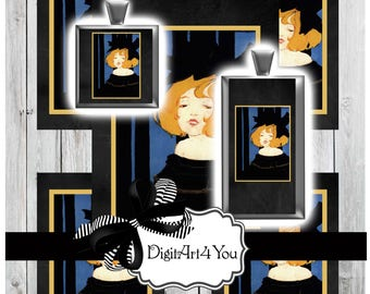 Toulouse-Lautrec Like Digital Collage. High Resolution Film Noir Burlesque Girl with Big Black Bow. Vintage Clip Art Inchies and Dominoes.