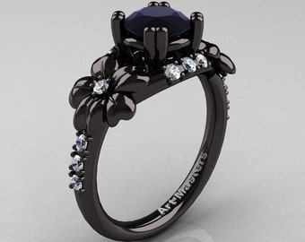 Nature Inspired 14K Black Gold 1.0 Ct Black Moissanite Diamond Leaf and Vine Engagement Ring R245-14KBGDBM