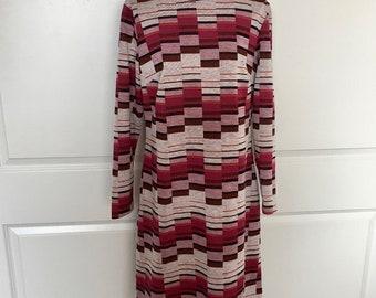 Vintage 1960s Knit Shift Dress Mod Geometric Op Art Turtleneck Medium