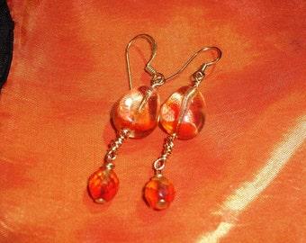 Bright flame-like orange, vintage, acrylic beads remade into fun dangle earrings