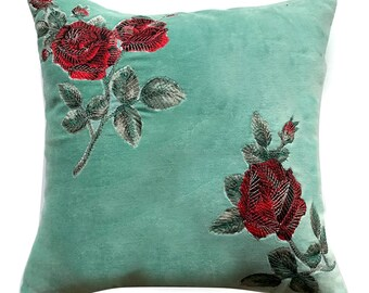 "Decorative Velvet Throw Pillow Cover, 18""x18"" Sea Green Cotton Velvet Pillowcase, Applique Embroidery, Couch, Sofa Pillows - Applique Roses"