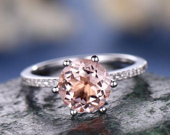 Round Morganite engagement ring-Solid 14k white gold wedding ring-Diamond Bridal Ring-basket underneath  Pink gemstone promise ring for her