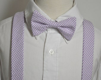 Lavender GinghamvBoys Bowtie and Suspender Set LOTS of COLORS AVAILABLE