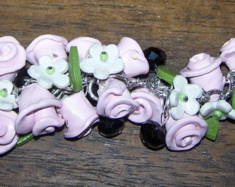 Boutique Pink Sweetheart Roses Rose Charm Bracelet Polymer Clay Black Beads Ooak