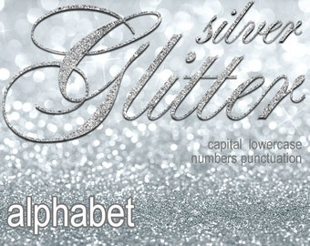 Digital Silver Glitter Alphabet, Digital Lettering, Glitz Printable Lettering, Digital Download, #69