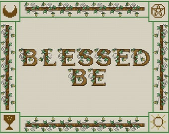 Blessed Be Sampler Counted Cross Stitch Pattern - Digital Download