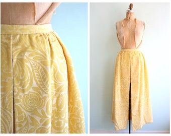 Vintage 1960's Embossed Yellow Velvet Split Front Skirt | Size Medium
