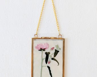 Botanical Embroidery, Retro Frame, Wall Hanging, Found Fineness