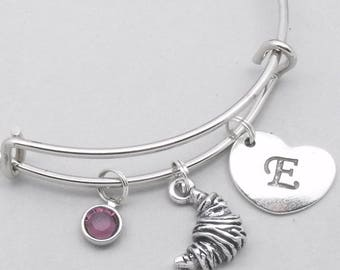 Croissant bracelet with heart initial | personalised jewellery | croissant jewellery | gift for baker