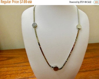 ON SALE Vintage Silver Tone Station Necklace Item K # 3026