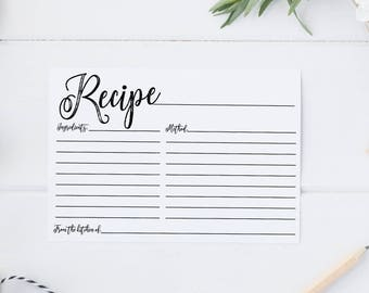 Printable Recipe Card - INSTANT DOWNLOAD, bridal shower recipe card