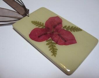 Dried pressed flower necklace pressed flower pendant pressed flower jewelry resin wooden necklace