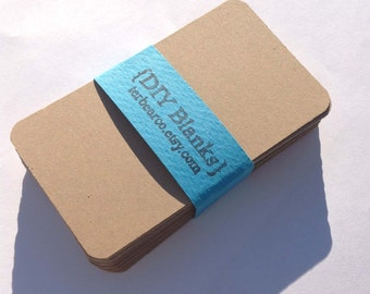 Round business cards etsy 200 diy brown kraft rounded corners business card blanks for stamping reheart Choice Image