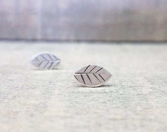 Leaf Stud Earrings Sterling Silver