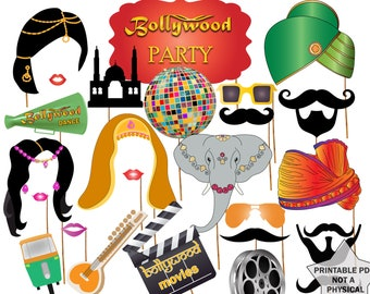 """Bollywood Party Photo booth Props: """"BOLLYWOOD WEDDING"""" India Photo Booth Props Printable Party Props Bollywood movies Bollywood props"""
