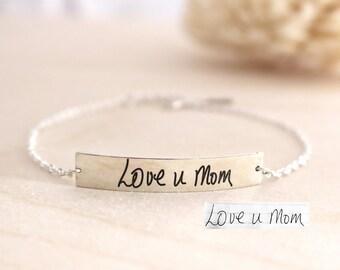Engraved Signature Bracelet - Bar Bracelet - Handwriting Bar Bracelet - Memorial Bracelet - Christmast Gift - Mother Gift
